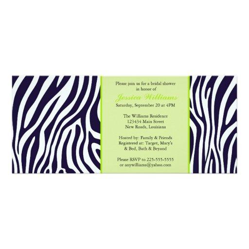 Green Zebra Bridal Shower Personalized Invitations