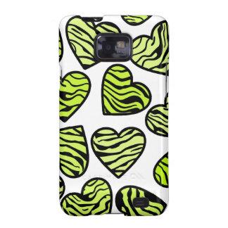 Green zebra hearts BlackBerry Samsung Galaxy Case Galaxy S2 Cases