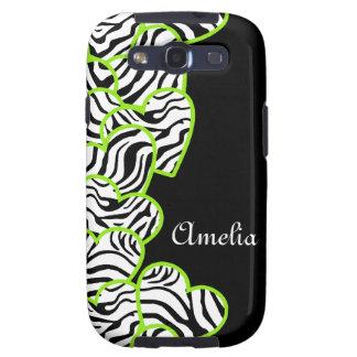 Green zebra hearts BlackBerry Samsung Galaxy Case Galaxy SIII Cover