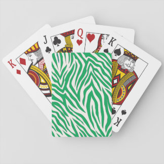 Green zebra stripe print playing cards