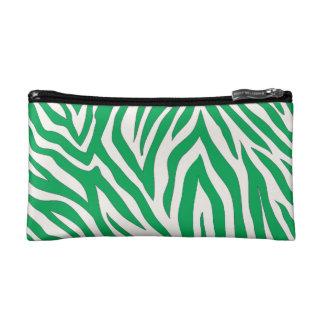 Green zebra striped cosmetic bag