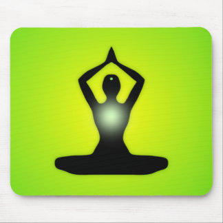 Green Zen Meditation Sunburst Mouse Pad