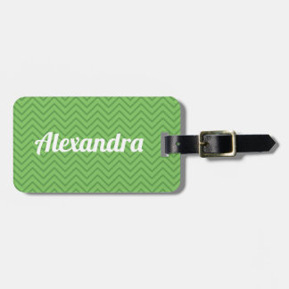 Green zig zag name luggage tag. luggage tag