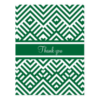 Green zig zag pattern with name postcard