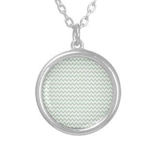 Green ZigZag Chevron Pattern Personalized Necklace
