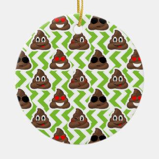 Green ZigZag Poop Pattern Emojis Ceramic Ornament