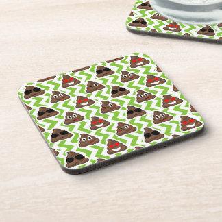 Green ZigZag Poop Pattern Emojis Coasters
