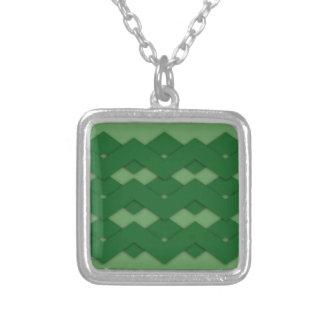 Green Zigzag Square Pendant Necklace