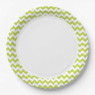 Green Zigzag Stripes Chevron Pattern 9 Inch Paper Plate
