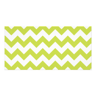 Green Zigzag Stripes Chevron Pattern Custom Photo Card