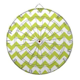 Green Zigzag Stripes Chevron Pattern Dartboard With Darts