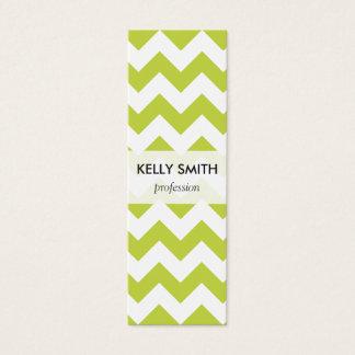 Green Zigzag Stripes Chevron Pattern Mini Business Card