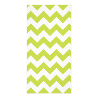 Green Zigzag Stripes Chevron Pattern Photo Cards