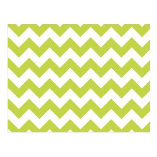 Green Zigzag Stripes Chevron Pattern Postcard