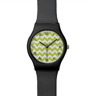 Green Zigzag Stripes Chevron Pattern Watches