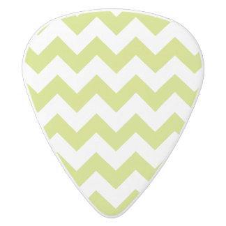 Green Zigzag Stripes Chevron Pattern White Delrin Guitar Pick