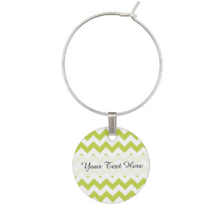 Green Zigzag Stripes Chevron Pattern Wine Charm