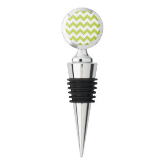 Green Zigzag Stripes Chevron Pattern Wine Stopper