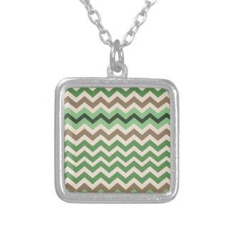 Green Zigzags With Black Square Pendant Necklace