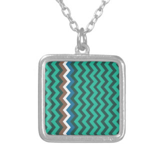 Green Zigzags With Manly Border Square Pendant Necklace