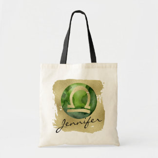 Green Zodiac Sign Libra on Gold Background Tote Bag