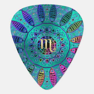 Green Zodiac Sign Scorpio Mandala Guitar Pick