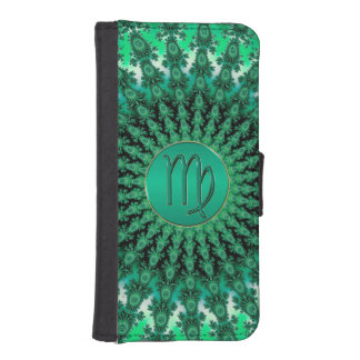 Green Zodiac Sign Virgo Fractal Mandala iPhone 5 Wallet