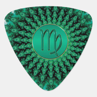 Green Zodiac Sign Virgo Fractal Mandala Plectrum