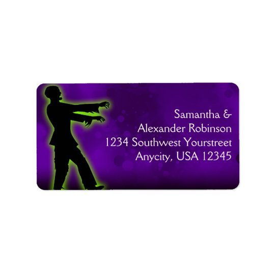 Green Zombie on Purple Address Label