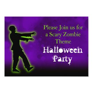 Green Zombie on Purple Invites