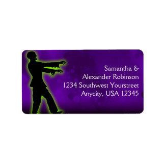 Green Zombie on Purple Address Label