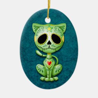 Green Zombie Sugar Kitten Ceramic Oval Decoration
