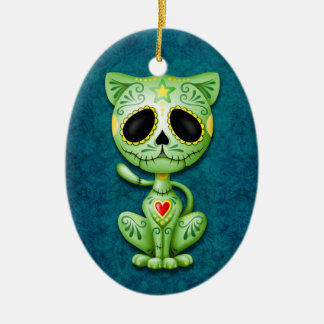 Green Zombie Sugar Kitten on Blue Ceramic Oval Decoration