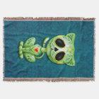 Green Zombie Sugar Kitten Throw Blanket