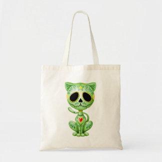 Green Zombie Sugar Kitten Tote Bags