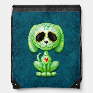 Green Zombie Sugar Puppy Dog on Blue Rucksacks