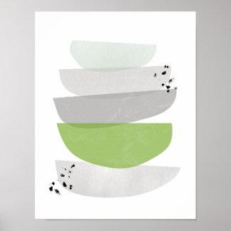 greenery abstract, minimalist poster print