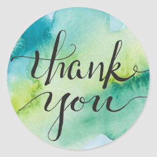 Greenery and Shaded Spruce Watercolor Gratitude Classic Round Sticker