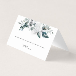 Greenery and White Flowers Wedding Place Card
