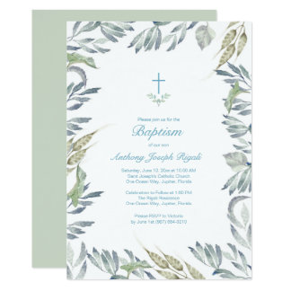 Greenery Baptism Invite, Boy Card