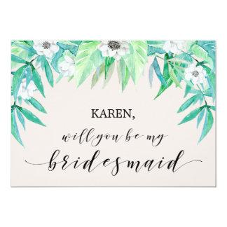Greenery Botanical Leaf Will You Be My Bridesmaid Card