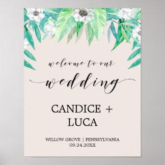 Greenery Botanical Wreath & Flower Wedding Welcome Poster