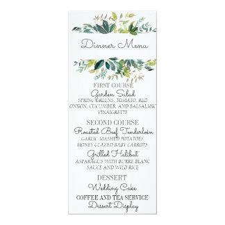 Greenery Bouquet Wedding Menu Card