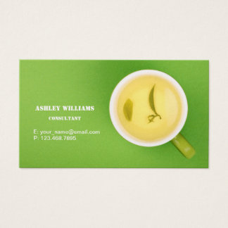 Greenery Business Card with cup of green tea