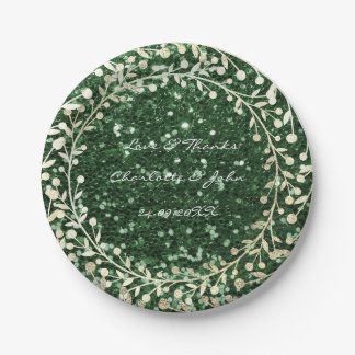 Greenery Cali Glitter Foxier Gold Wreath Garland Paper Plate