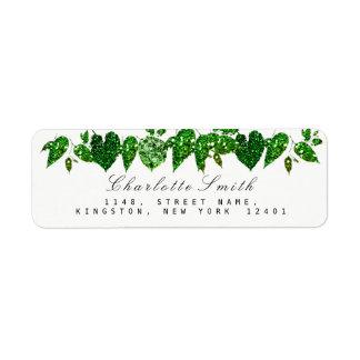 Greenery Cali Green Glitter Woodland Ivy Leaf RSVP Return Address Label