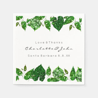Greenery Cali Green Glitter Woodland Ivy Leafs Disposable Napkin