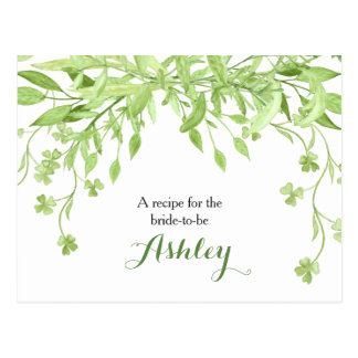 Greenery Clover Floral Bridal Shower Recipe Card