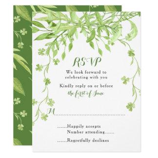Greenery Clover Floral Wedding RSVP Card