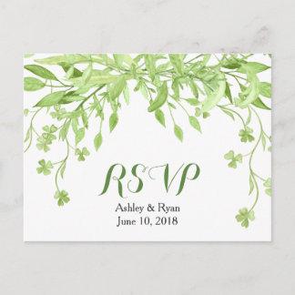 Greenery Clover Floral Wedding RSVP